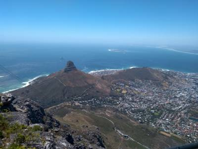 view from Table Mountain to the Lions Head & Capetown